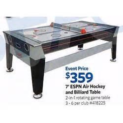 espn air hockey billiards table 7 ft at sam s club
