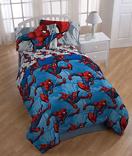 spiderman twin bedding set 4pc marvel spiderman twin bedding set city graphic comforter and sheet set image 001
