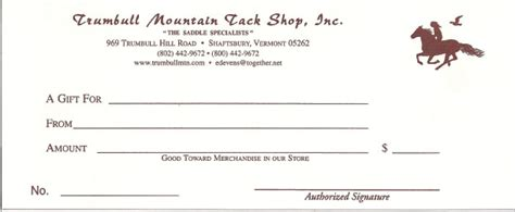 Trumbull Mountain Gift Certificate 250 00 Trumbull Mountain Tack Shop Horseback Gift Certificate Template