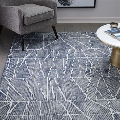 west elm blue rug erased lines wool rug blue lagoon west elm