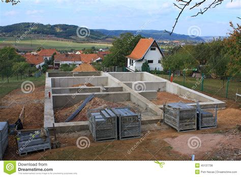 new home foundation concrete foundation for a new house stock photo image of