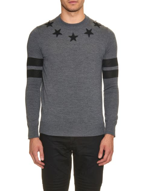 Givenchy Sweater givenchy patch wool knit sweater in gray for lyst