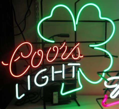bud light shamrock neon sign let there be neon illuminated and non illuminated signs