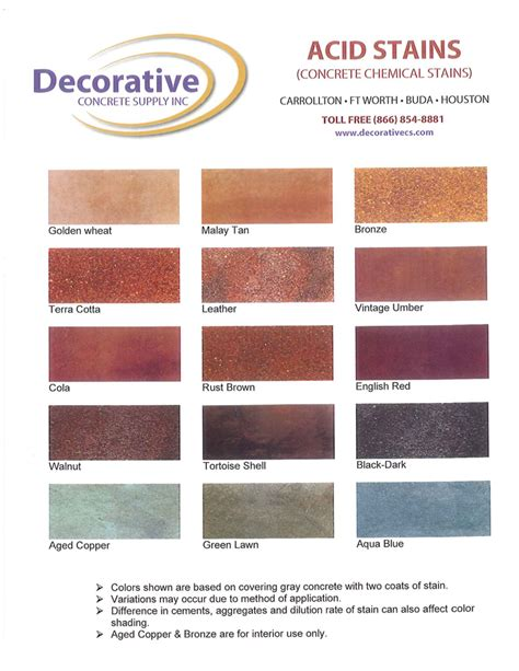 concrete acid stain color chart central decorative concrete projects by myers