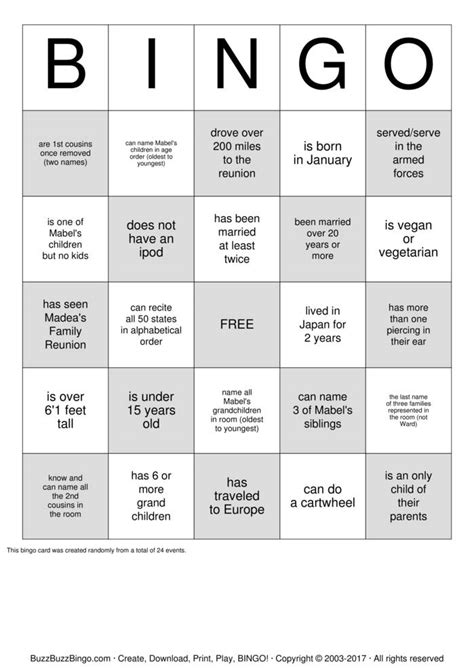 family reunion bingo card template ward family reunion bingo cards to print and