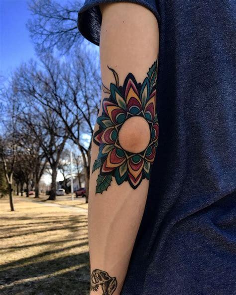 Geometric Tattoo Winnipeg | geometric tattoo my traditional mandala flower elbow
