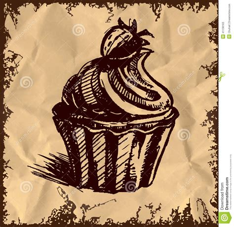 retro drawing creamy cup cake on vintage background stock vector image