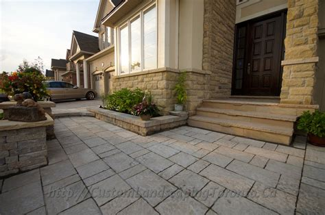 landscaping toronto patio deck with large interlock and landscaping design