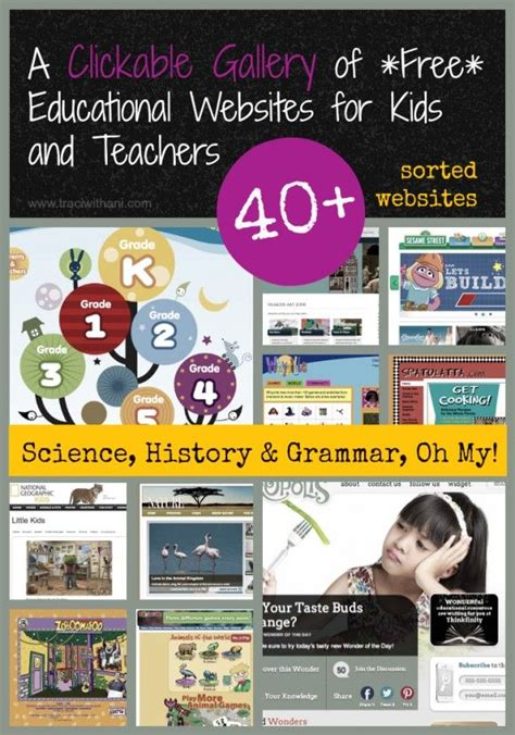 a clickable gallery of free educational websites for kids
