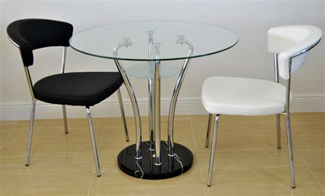 Glass Bistro Table And 2 Chairs Small Dinette 2 434 Chairs With 687 Chrome Table Alfa Dinettes