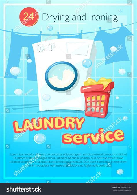 laundry design poster laundry service advertising poster vector illustration