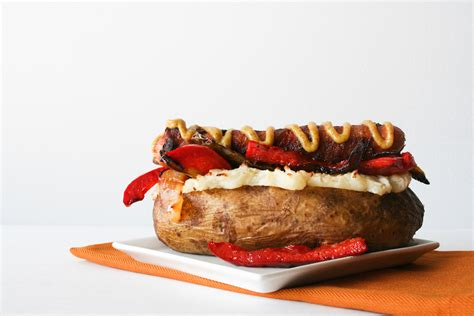 Large Potato Dogs by Six Outrageously Overstuffed Baked Potatoes Food