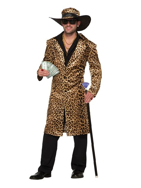 adults funky leopard pimp jacket  hat costume ac
