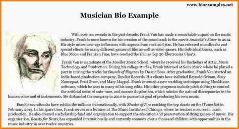 artist bio template 8 artist biography sle normal bmi chart