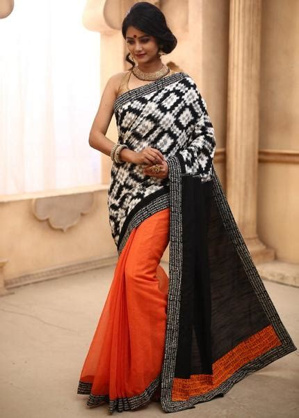orange with blue combination border ikat saree and blouse buy online best sale collection of saree page 3 sujatra