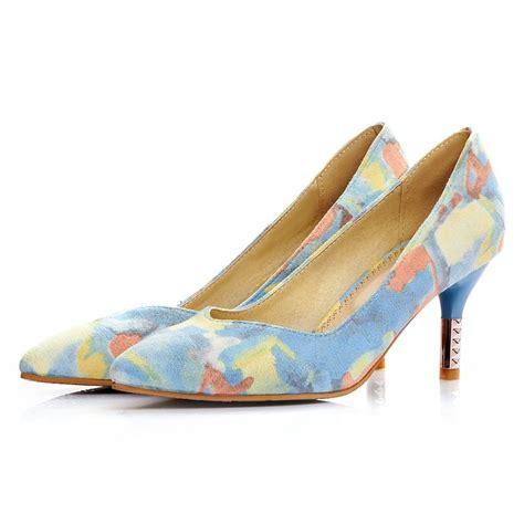 popular blue floral print heels buy cheap blue floral