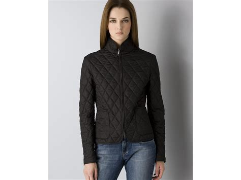 burberry womens classic quilted jacket in black lyst