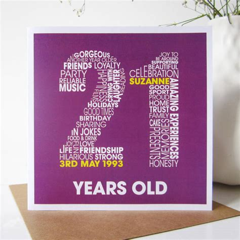 21st Birthday Card Personalised 21st Birthday Card By Mrs L Cards