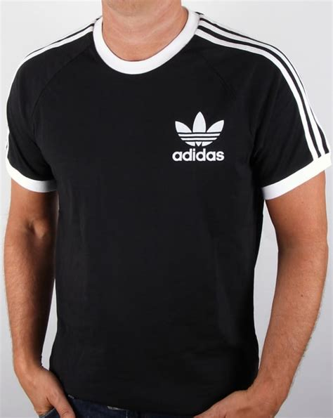 Tees Adidas Black Classic by Adidas Originals Retro 3 Stripes T Shirt Black California