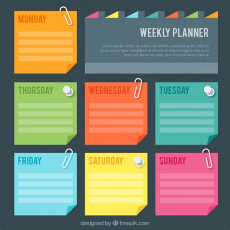 schedule layout graphic design weekly planner with colores post it vector free download