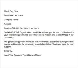 Thank You Letter Template For Monetary Donation Sle Thank You Letters For Donation 8 Documents In