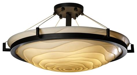 asian porcelina wavy black 20 1 2 quot wide ceiling light