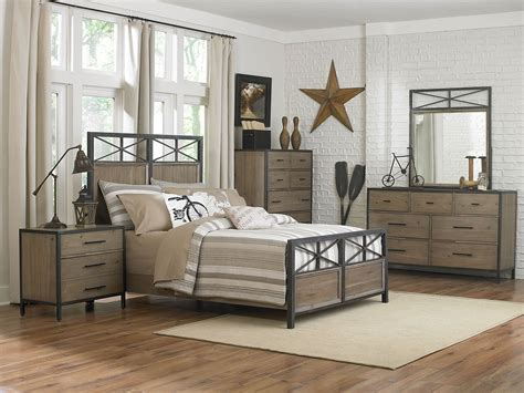 bailey metal wood panel bedroom set y2159 58h 58f 58r