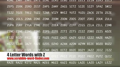 4 letter words ending in z 4 letter words with z 1035
