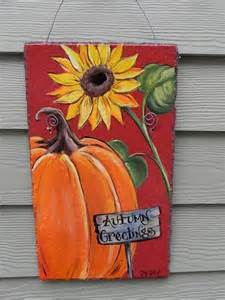 pumpkin and sunflower autumn welcome hand painted slate
