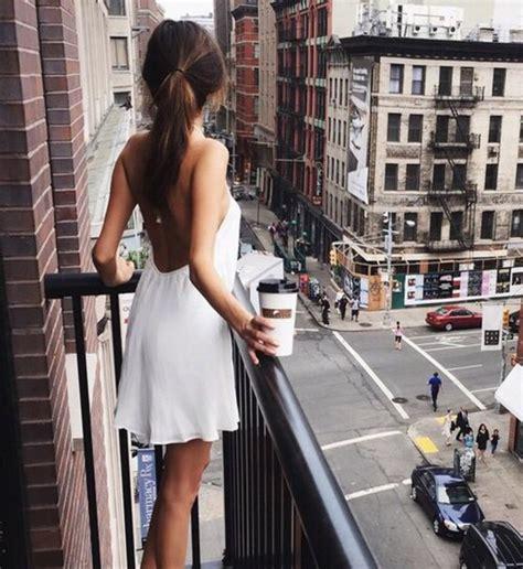 Dress: white, coffee, white dress, new york, new york city, tumblr, tumblr girl   Wheretoget
