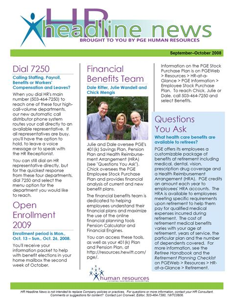 Employment Newsletter Employee Communications Portfolio Cronwell