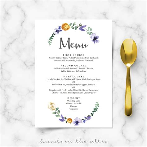 buffet cards template simple purple floral wedding buffet menu template wedding menu