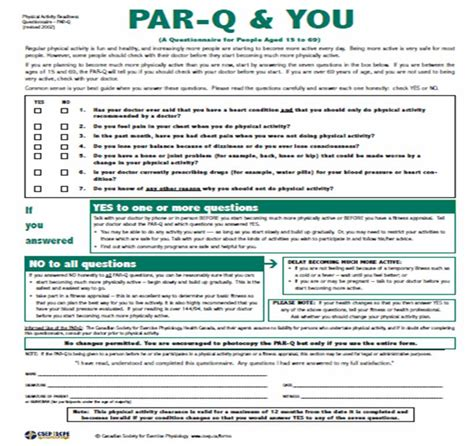 par q template for sport exercise physiology fitness and health safely starting