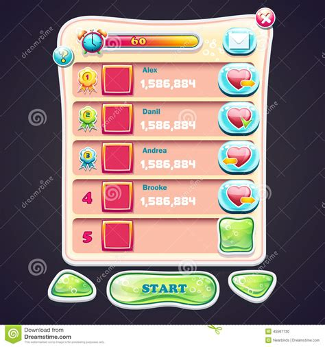 design elements in games set information panel with beautiful shiny buttons and the