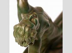 G. Daverny Antique Art Deco Sculpture of Diana the Archer ... Modern Flapper Hair
