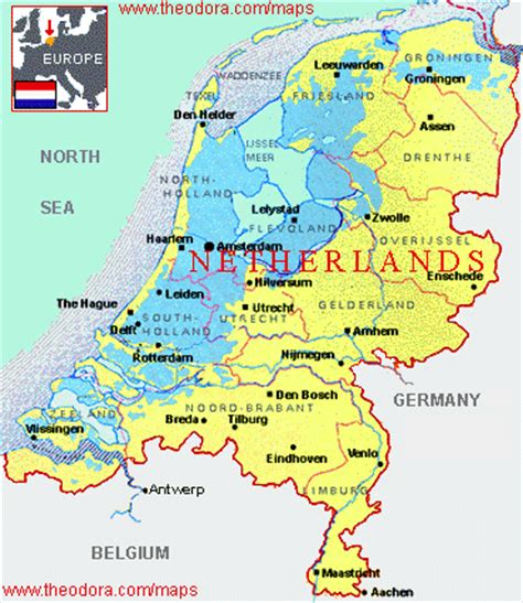 netherlands geographical map maps of the netherlands flags maps economy