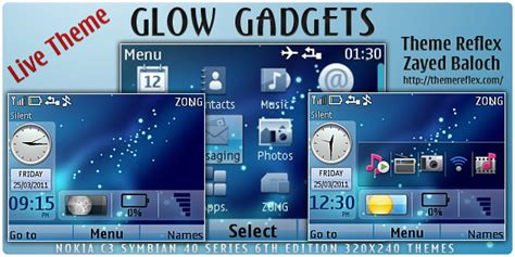 nokia c3 00 live themes free download glow gadgets live theme for nokia c3 x2 01 updated