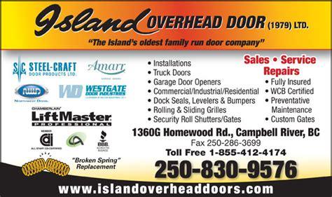 island overhead door 1979 ltd commercial and residential island overhead door 1979 ltd 1360 homewood rd cbell river bc
