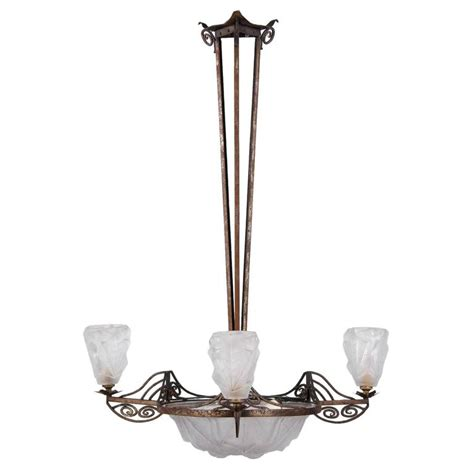 Degue Chandelier French Art Deco Chandelier Signed Degue For Sale At 1stdibs