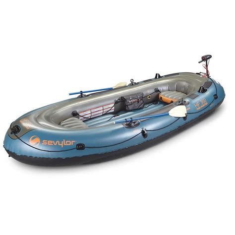 inflatable boats ebay inflatable boat sevylor fish hunter 360 6 person motor
