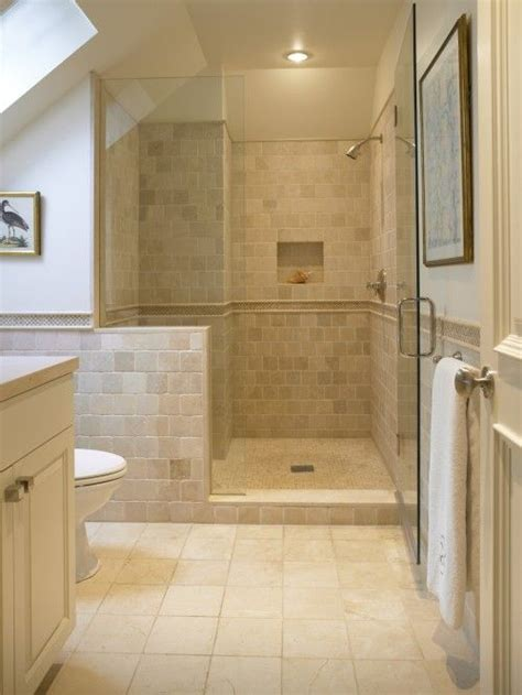cream tiled bathroom ideas 25 best ideas about half wall shower on pinterest