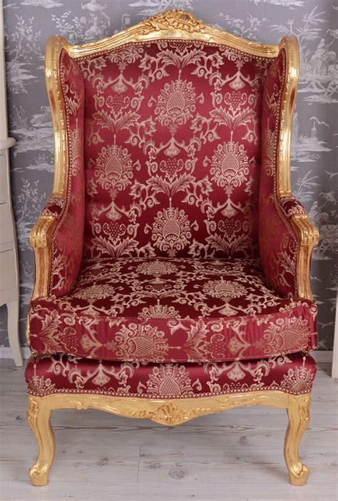 sessel ohrensessel barocker ohrensessel k 214 niglicher thron rot gold antik