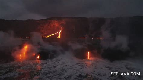 lava ocean entry boat tours video lava breakouts at ocean entry
