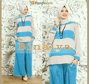 Deltarn Set Kulot Biru Baju Setelan Wanita Muslim Setelan Ku baju muslim wanita setelan celana kulot 3 in 1 modis