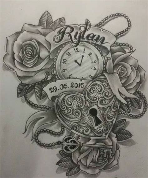 clock and rose drawing www pixshark com images