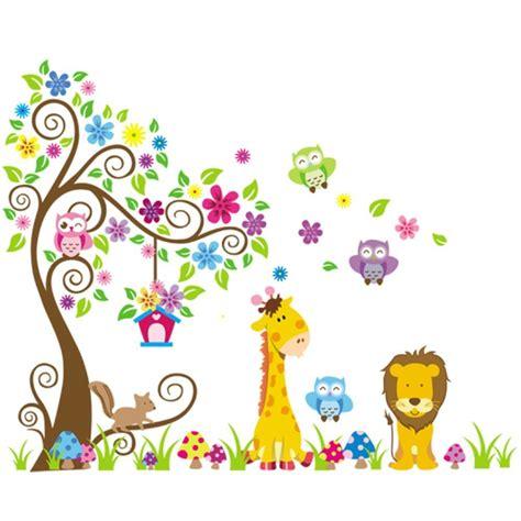 Sticker Stiker Anak Edukatif Animals Binatang nursery wall stickers co uk