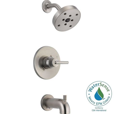 Delta Shower Faucets With Sprays by Delta Trinsic 1 Handle 1 Spray Tub And Shower Faucet Trim Kit In Stainless Valve Not Included