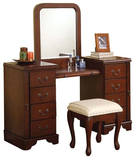 Makeup Vanity Furniture Cherry Louis Philipe 3 Pc Make Up Table Bench Mirror 8 Drawers Large Vanity Set Contemporary