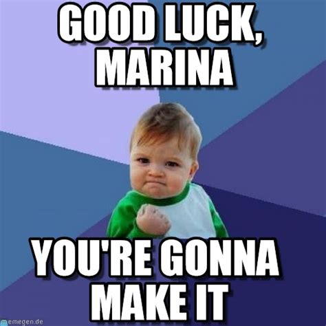Good Luck Memes - good luck marina success kid meme on memegen