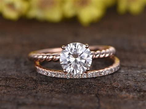 Band Engagement Moissanite Ring Wedding by 1 25 Carat Moissanite Solitaire Engagement Ring Set